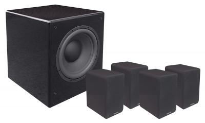 SD 402 + SUB 1201A set of black speakers and subwoofer