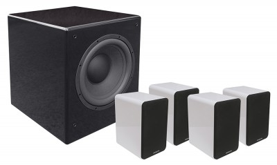 SD 402 + SUB 1201A set of white speakers and subwoofer