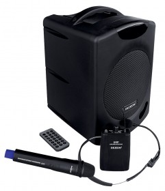 WA 400RC speaker system with hand and headset wireless microphone